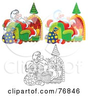 Royalty Free RF Clipart Illustration Of A Digital Collage Of Saint Nicholas Sitting In A Chair In Front Of A Fireplace Airbrushed Cartoon Outline