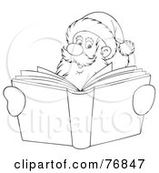 Royalty Free RF Clipart Illustration Of An Outlined Santa Smiling Over A Christmas Story Book