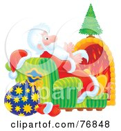 Royalty Free RF Clipart Illustration Of An Airbrushed Saint Nicholas Sitting In A Chair In Front Of A Fireplace