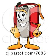 Clipart Picture Of A Red Book Mascot Cartoon Character Pointing At The Viewer