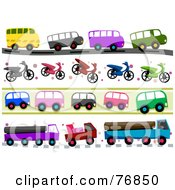 Royalty Free RF Clipart Illustration Of A Digital Collage Of Bus Scooter And Big Rig Borders by BNP Design Studio
