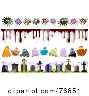 Royalty Free RF Clipart Illustration Of A Digital Collage Of Germ And Halloween Borders by BNP Design Studio