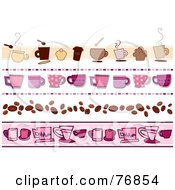 Royalty Free RF Clipart Illustration Of A Digital Collage Of Pink And Brown Coffee Borders
