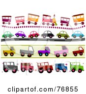 Royalty Free RF Clipart Illustration Of A Digital Collage Of Train And Car Borders