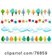 Royalty Free RF Clipart Illustration Of A Digital Collage Of Tree Flower Cloud And Leaf Borders
