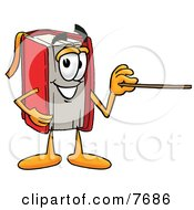 Clipart Picture Of A Red Book Mascot Cartoon Character Holding A Pointer Stick