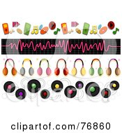 Royalty Free RF Clipart Illustration Of A Digital Collage Of Music And Headphone Borders by BNP Design Studio