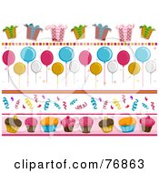 Royalty Free RF Clipart Illustration Of A Digital Collage Of Birthday Party Borders by BNP Design Studio