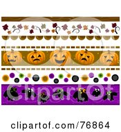 Royalty Free RF Clipart Illustration Of A Digital Collage Of Halloween And Autumn Borders