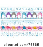 Royalty Free RF Clipart Illustration Of A Digital Collage Of Snowflake Penguin Snow Hat And Bubble Borders by BNP Design Studio