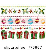 Royalty Free RF Clipart Illustration Of A Digital Collage Of Holly Bauble And Christmas Present Borders by BNP Design Studio