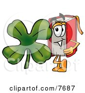 Clipart Picture Of A Red Book Mascot Cartoon Character With A Green Four Leaf Clover On St Paddys Or St Patricks Day by Toons4Biz