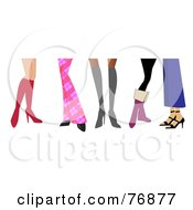Royalty Free RF Clipart Illustration Of Womens Legs Wearing Boots And Heels