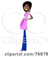 Royalty Free RF Clipart Illustration Of An Indian Pregnant Woman In Jeans And A Pink Shirt by peachidesigns