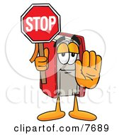 Clipart Picture Of A Red Book Mascot Cartoon Character Holding A Stop Sign