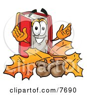 Clipart Picture Of A Red Book Mascot Cartoon Character With Autumn Leaves And Acorns In The Fall
