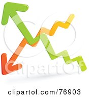Royalty Free RF Clipart Illustration Of Orange And Green Up And Down Chart Arrows
