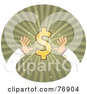 Hands Reaching For A Dollar Symbol On A Green Burst Circle