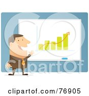 Royalty Free RF Clipart Illustration Of A Successful Businessman Giving A Presentation On The Increasing Growth Of A Company