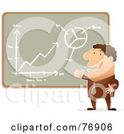 Royalty Free RF Clipart Illustration Of A Confident Businessman Presenting His Charts On A Chalk Board