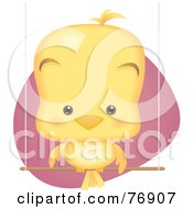 Royalty Free RF Clipart Illustration Of A Cute Baby Bird Sitting On A Perch Swing by Qiun