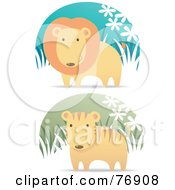 Royalty Free RF Clipart Illustration Of A Digital Collage Of A Male Lion And Cute Tiger In Grass