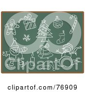 Royalty Free RF Clipart Illustration Of A Chalk Board With Sketches Of Christmas Items by Qiun