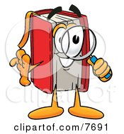 Clipart Picture Of A Red Book Mascot Cartoon Character Looking Through A Magnifying Glass