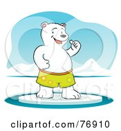 Royalty Free RF Clipart Illustration Of A Cool Polar Bear Standing On Ice And Holding One Thumb Up by Qiun #COLLC76910-0141