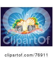 Royalty Free RF Clipart Illustration Of A Blue Funky Burst Music Background Of Speakers Circles And Clouds by Qiun