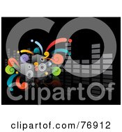 Royalty Free RF Clipart Illustration Of A Black Music Background With Funky Swirls Speakers And A Gray Equalizer Bar by Qiun