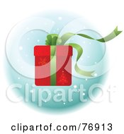 Royalty Free RF Clipart Illustration Of A Red Christmas Present With Green Ribbons And A Bow Over Snow