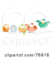 Royalty Free RF Clipart Illustration Of A Row Of Colorful Birds On A Wire by Qiun