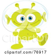 Royalty Free RF Clipart Illustration Of A Grinning Green Alien Walking And Wearing A Head Bubble