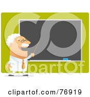 Royalty Free RF Clipart Illustration Of A Male Professor Teaching And Pointing To A Blank Chalk Board