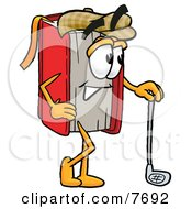 Clipart Picture Of A Red Book Mascot Cartoon Character Leaning On A Golf Club While Golfing