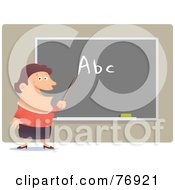 Royalty Free RF Clipart Illustration Of A Happy Female School Teacher Pointing To Abc On A Chalk Board