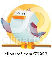 Royalty Free RF Clipart Illustration Of A Happy Cubic Bird Perched On A Stick