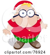 Royalty Free RF Clipart Illustration Of A Nervous Chubby Boy Looking Up And Wearing A Santa Hat