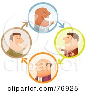 Royalty Free RF Clipart Illustration Of A Network Of Businessmen Chatting In Circles by Qiun