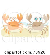 Royalty Free RF Clipart Illustration Of Two Orange And Brown Happy Crabs On A Beach
