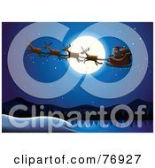 Royalty Free RF Clipart Illustration Of A Full Moon Providing Light For Santa And His Reindeer In The Night Sky