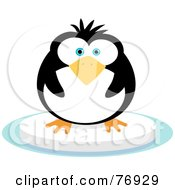 Royalty Free RF Clipart Illustration Of A Chubby Penguin On A Floating Block Of Ice by Qiun