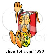 Clipart Picture Of A Red Book Mascot Cartoon Character Plugging His Nose While Jumping Into Water by Toons4Biz