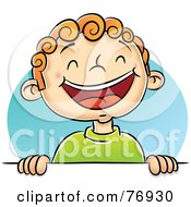 Royalty Free RF Clipart Illustration Of A Happy Boy Laughing And Holding Up A Blank Sign by Qiun