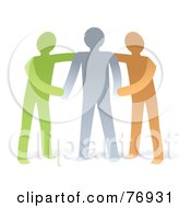 Royalty Free RF Clipart Illustration Of A Supportive Green And Orange Men Helping A Gray Man by Qiun #COLLC76931-0141