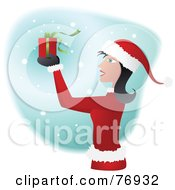 Royalty Free RF Clipart Illustration Of A Woman In A Santa Suit Holding Up A Present In The Snow