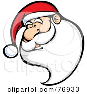 Royalty Free RF Clipart Illustration Of Kris Kringle Wearing A Santa Hat With A Long Beard