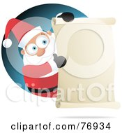 Royalty Free RF Clipart Illustration Of St Nick Presenting A Scrolled Naughty Or Nice List by Qiun