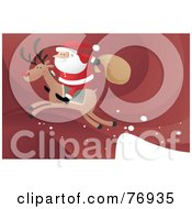 Royalty Free RF Clipart Illustration Of Santa Riding On The Back Of Rudolph As They Take Off From A Ledge